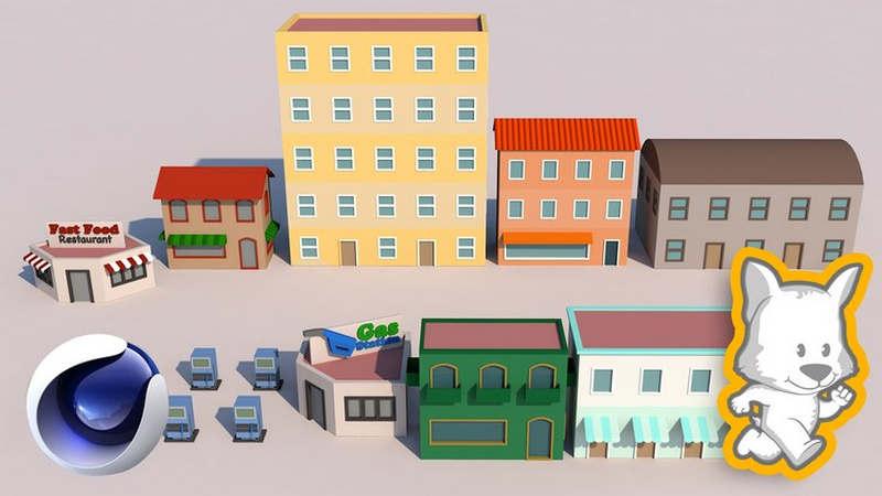 Low Poly Modeling in Cinema 4D (Vol 1) 3D Buildings